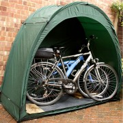 bike tent with bikes by house