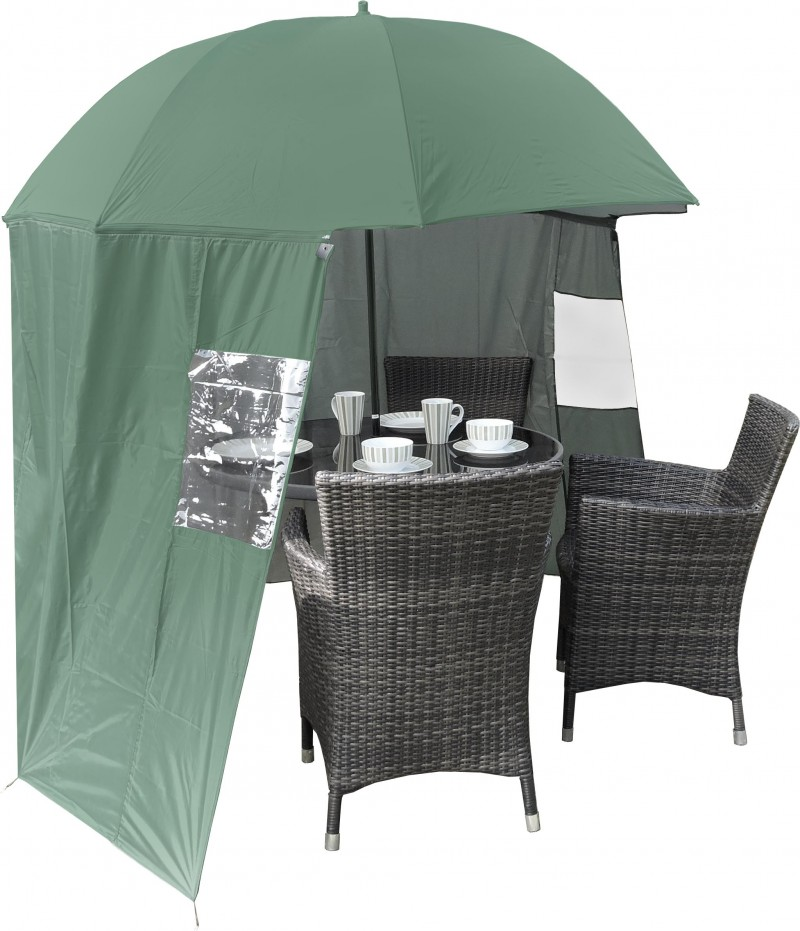 Shelta shade garden parasol with windbreak