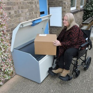 Wheelchair Accessible Delivery Box PinPod Lo Large Floor Standing Parcel Drop Box