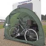 CampaCave storing bikes by caravan