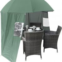 Shelta-Shade Shelter Umbrella garden parasol with windbreak