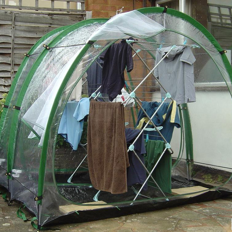 Showing innovative new clothes drying tent open