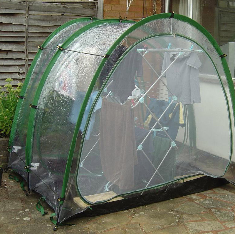 clothes drying tent with mesh panel fitted