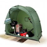 Tidy Tent outdoor garden storage tent with BBQ cutout