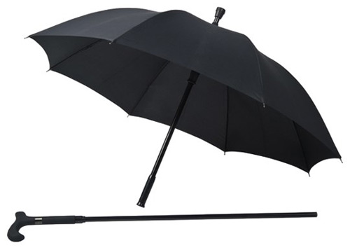 Two piece walking stick umbrella