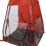 Pop-Up Weather Shelter red with windows open