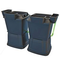 2 x 1 tier black water butt rain barrels