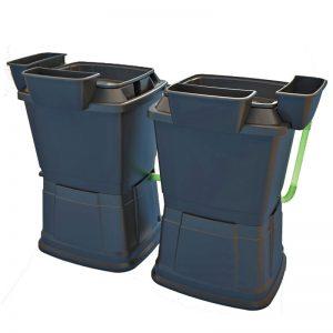2 x 1 tier black water butt rain barrels