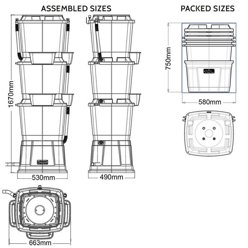 Rainwater Terrace Water Butt 3 Tier System