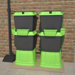 Domestic rainwater harvesting water butts green