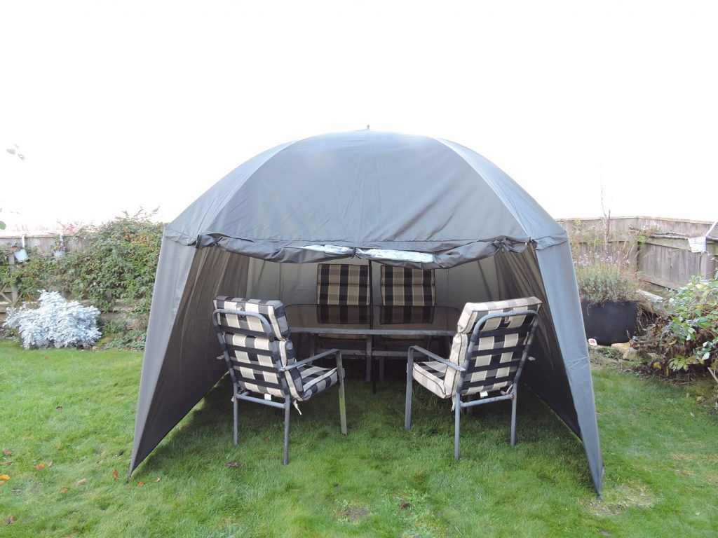 Umbrella Tent Open Front with Table and Chairs