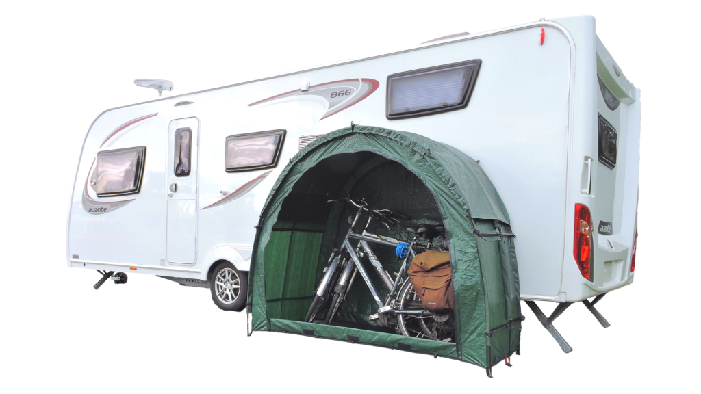 Portable Storage TidyTent TRIO with 2 bikes at side of caravan
