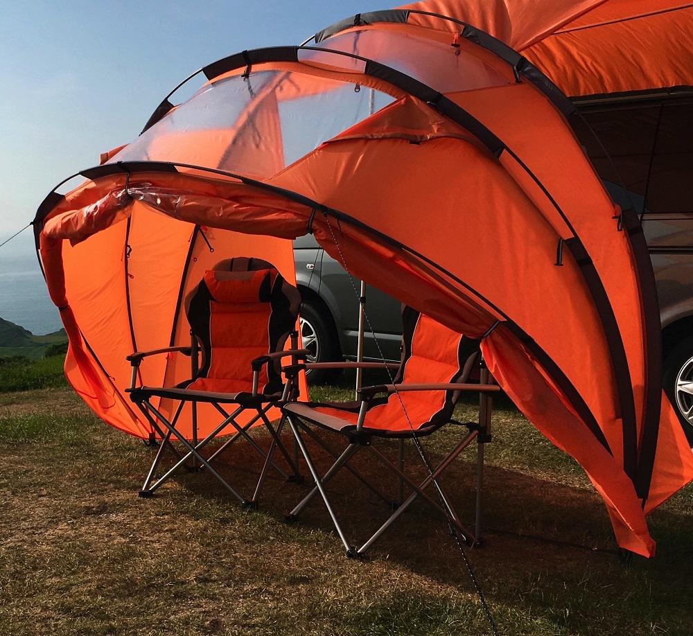 Orange SheltaPod folded back