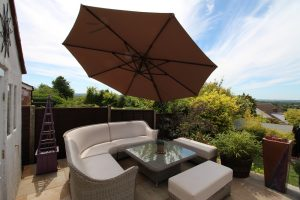 3.5m cantilever patio parasol tilted