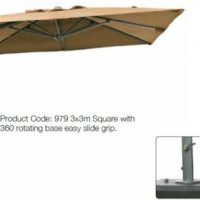 3m Square Cantilever Patio Parasol with Base